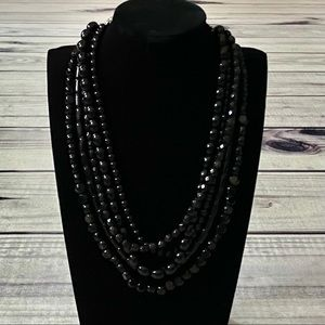 The Limited 5 Stranded Black Beaded Necklace